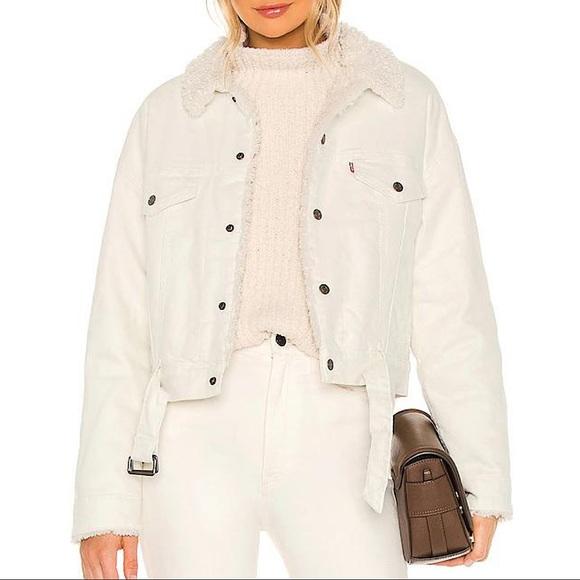 Levi's Premium Cozy Cocoon Sherpa Trucker Belted Denim Jacket in Cuddly Tofu NWT